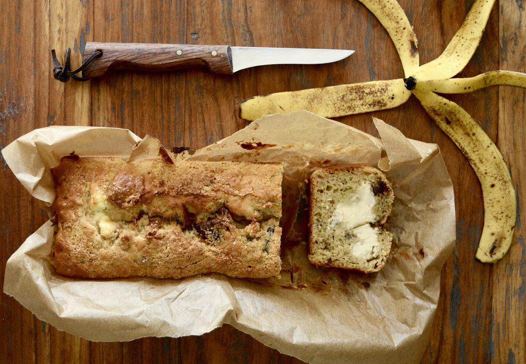 Bananenbrood opengesneden