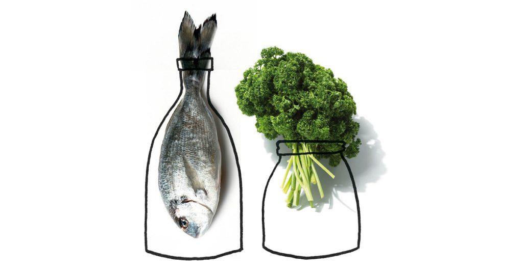 vis-groente-fles-illustratie